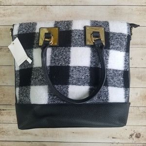 NWT boutique handbag black & white plaid
